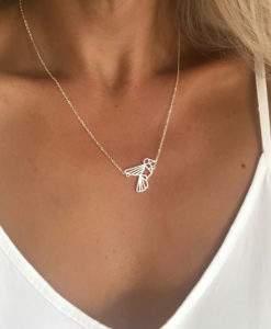 collier acier femme- Oiseau Geometrique