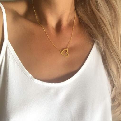 collier acier femme-coeur