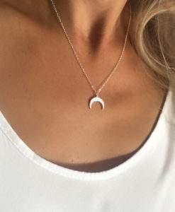 collier acier femme- croissant de lune