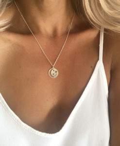 collier acier femme- medaille lune etoile
