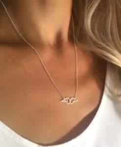collier acier femme- pendentif ailes d ange