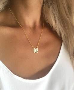 collier acier femme- pendentif chat dore