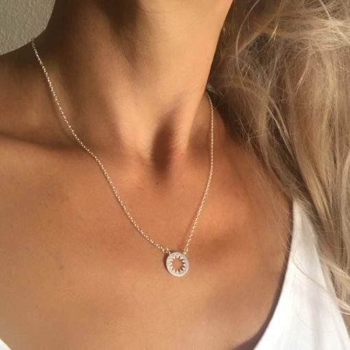 collier acier femme- soleil argente