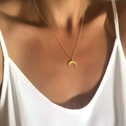 collier acier inoxydable- croissant de lune