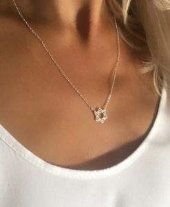 collier acier inoxydable femme - fleur