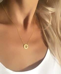 collier acier inoxydable- soleil dore