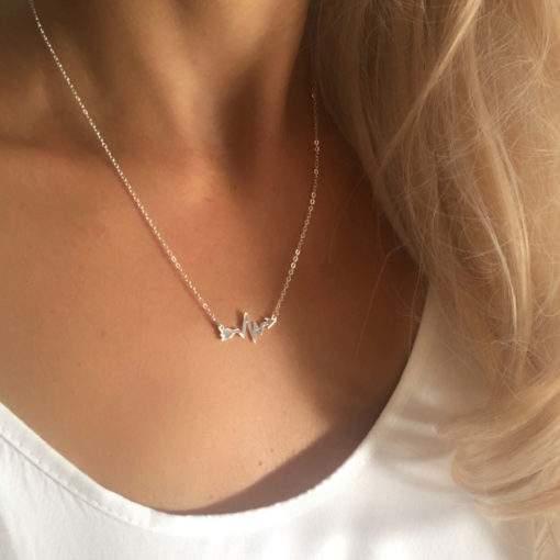 collier géométrique acier femme