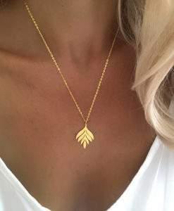 cadeau femme collier laurier or